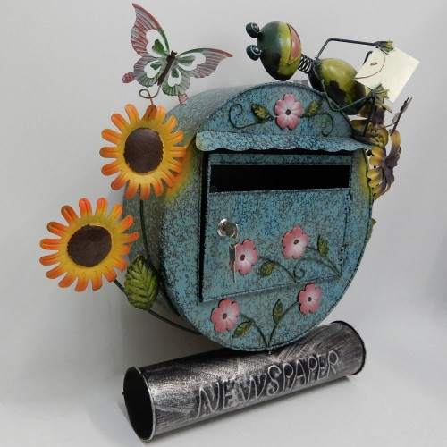 blue decorative metal art letterbox mailbox hand  painted