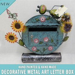 NEW Blue Decorative Metal Art Letterbox Mailbox Hand Made & Painted