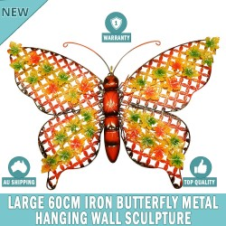 Large 60 cm Iron Butterfly Metal Wall Hanging Sculpture Home Garden Decors