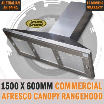1500 X 600mm Commercial Alfresco Rangehood Canopy Range Hood Twin Motor BBQ