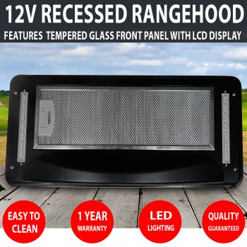 Recessed 12v Caravan Rangehood Touch Control LED LCD Display RV Motorhome