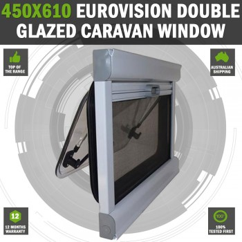 Caravan Motorhome Window 450mm x 1100mm tinted double glazed With Blind