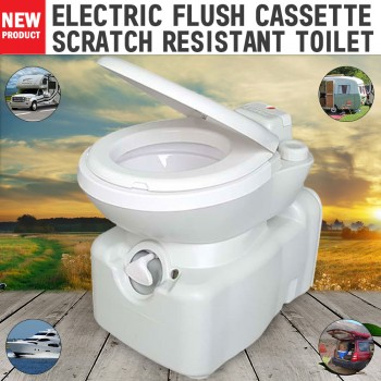 New Caravan RV Cassette Toilet Scratch Resistant Swivel Access Electric Flush