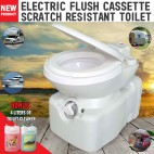 New Caravan RV Cassette Toilet Scratch Resistant Swivel Access Electric Flush With 4 Liters Of Toilet Cleaner