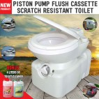 New Caravan RV Cassette Toilet Scratch Resistant Swivel Access Piston Push Flush With 4 Liters Of Toilet Cleaner