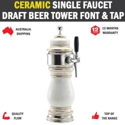 Chrome Ceramic Single Faucet Draft Beer Tower Font Chrome & Tap