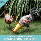 NEW 2x Chicken Garden Pot Plant Metal Decor Statue Ornament Figurine Outdoor Indoor