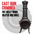 Cast Iron Chiminea Pot Belly Wood Heater Patio BBQ Grill