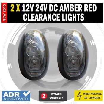 2 X 12V/24V DC Amber Red Clearance Lights Side Marker LED Trailer Truck