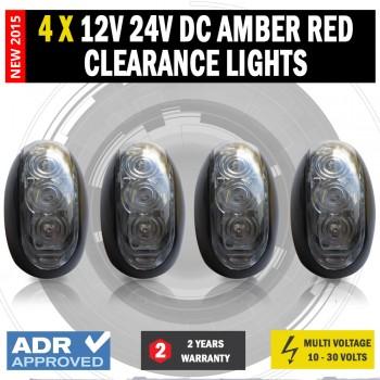 4 X 12V/24V DC Amber Red Clearance Lights Side Marker LED Trailer Truck