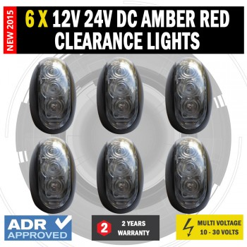 6 X 12V/24V DC Amber Red Clearance Lights Side Marker LED Trailer Truck