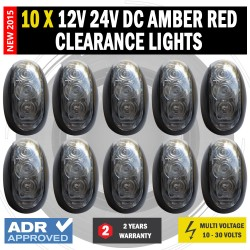 10 X 12V/24V DC Amber Red Clearance Lights Side Marker LED Trailer Truck