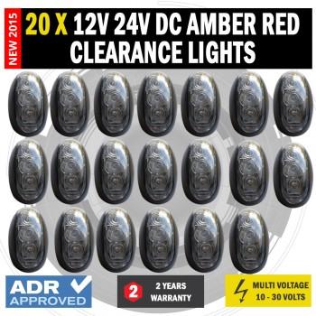 20 X 12V/24V DC Amber Red Clearance Lights Side Marker LED Trailer Truck