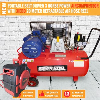 Belt Driven 3HP 12CFM Air Compressor Portable 300L/min 80Lt Tank WITH HOSE REEL
