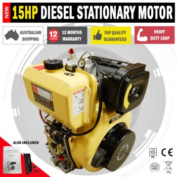 Large 15HP Diesel Stationary Motor With Electric Start Pumps & Saw Benches
