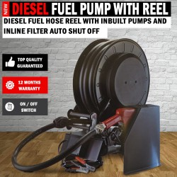 Diesel Fuel Hose Reel With Inbuilt Pumps And Inline Filter Auto Shut Off