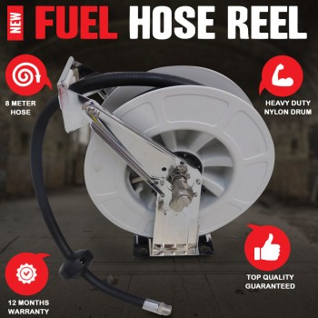 Stainless Fuel Hose Reel Diesel Unleaded Petrol Oil Biodiesel AdBlue DEFs