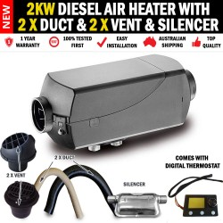 2KW Diesel Air Heater 2 x Vents and Duct Digital Thermostat Caravan RV Buses
