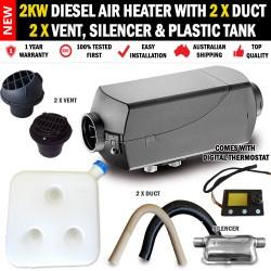 2KW Belief Caravan Diesel Air Heater 2 x Vents, Duct, Silencer 10L Tank Digital Thermostat