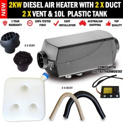 2KW Diesel Air Heater 2 x Vents, Duct and 10L Tank Digital Thermostat RV Bus