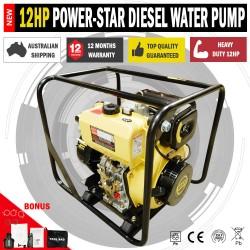 Power-Star 12 HP Diesel High Pressure Water Transfer Pump Key Start Battery