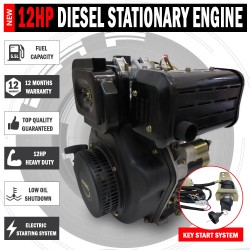 12HP Diesel Stationary Engine Electric Start OHV Shaft Recoil Replacement