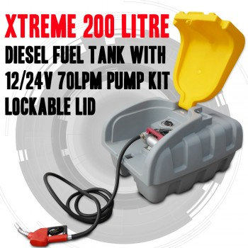 XTREME 200 LITRE DIESEL FUEL TANK WITH 12/24V 70LPM PUMP KIT, LOCKABLE LID