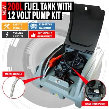 Xtreme 200 Litre Diesel Fuel Tank With 12/ 70lpm Pump Kit Lockable Lid