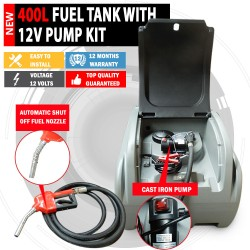 NEW 12V/24V Polly Tuff 400 Litre Diesel Fuel Tank 70LPM Pump Kit Lockable Lid