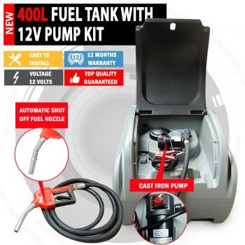 NEW 12V/24V Polly Tuff 400 Litre Diesel Fuel Tank 70LPM Pump Kit Lockable Lid