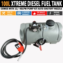 XTREME 100L Diesel Fuel Tank With 12/40lpm Pump Kit Auto Shut Off Nozzle