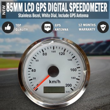 85mm Needle Digital GPS Speedometer, Speedo Black Dial GPS Antenna