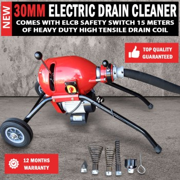 Heavy Duty Electric Drain Cleaner 30mm Coil Plumbing Sewerage Pipe Machine