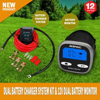 170amp Dual Battery Charger System Kit & 12V Dual Battery Monitor System