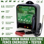 40km 12V Power Electric Fence Energiser Charger Poly Wire Tape Posts & Tester