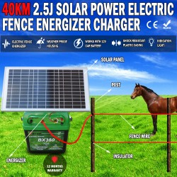 40km 2.5J Solar Power Electric Fence Energizer Charger Poly Wire Tape Posts