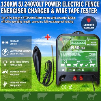 120km 5J 240 VOLT Power Electric Fence Energiser Charger & FREE Fence Tester