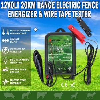 20km12V Solar Power Electric Fence Energiser Charger & Fence Voltage Tester
