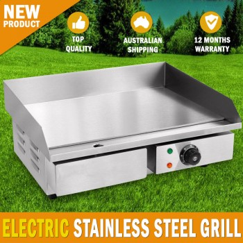 NEW ELECTRIC GRIDDLE GRILL HOT PLATE STAINLESS STEEL BBQ GRILL LARGE PLATE