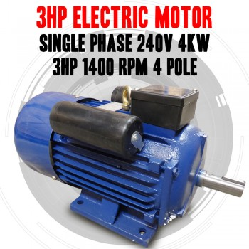 NEW 240v 4kw 3hp Electric Motor Single Phase 1400 rpm 4 pole