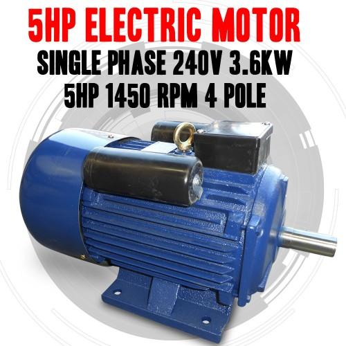 New Single Phase 240v 5hp Electric Motor Single Phase 1400