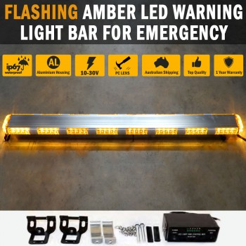 Flashing Amber LED Warning Light Bar Emergency Safety Hazard Beacon