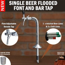 Single Flooded Iced Beer Font & Bar Tap Cobra Chrome Plated Brass Flow