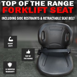 Forklift Seat With Side Restraints And Retractable Seat Belt