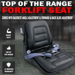 Adjustable Forklift Seat Multi Adjustable With Seat Belt, Bobcat Tractor