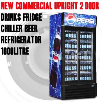 COMMERCIAL UPRIGHT 2 DOOR DRINKS FRIDGE CHILLER BEER REFRIGERATOR 1000LITRE