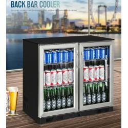 NEW BLACK STAINLESS 2 Door Under Bench Display Drinks Fridge