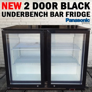 Black 2 Door Under Bench Bar, Beer Fridge Refrigerator