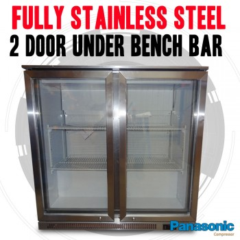 Fully Stainless Steel 2 Door Under Bench Beer Fridge