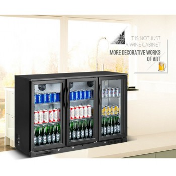 NEW 3 Door Under Bench Bar Fridge Beer Refrigerator Cooler Black